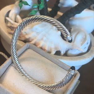 Authentic DY Cabochan Blk Onyx Bracelet W/Diamonds